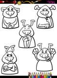 Livre de coloriage réglé de bande dessinée d'émotion de chien Image libre de droits