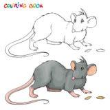 Livre de coloriage de vecteur pour des enfants avec le rat Photographie stock