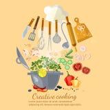 Livre de cuisine à cuire créatif de collection Photographie stock