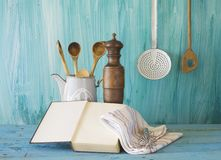 Livre de cuisine avec l'espace d'exemplaire gratuit, Image stock