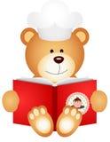 Livre de cuisine de lecture d'ours de nounours illustration stock