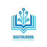Livre de Digital - dirigez l'illustration de concept de calibre de logo Signe créatif de nouvelle éducation Symbole abstrait d'éc Images libres de droits