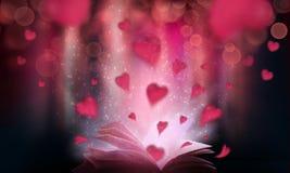 Livre de l'amour Un livre ouvert avec les coeurs rouges photo stock