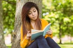 Livre de lecture d'étudiante contre le tronc d'arbre en parc Images stock