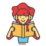 Livre de lecture de fille dans le concept d'écouteurs Image libre de droits