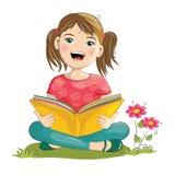 Livre de lecture de fille de bande dessinée Photographie stock libre de droits