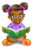 Livre de lecture de fille de bande dessinée Photo stock