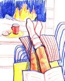Livre de lecture de fille sur le fauteuil par la cheminée Illustration de crayon de couleur illustration libre de droits