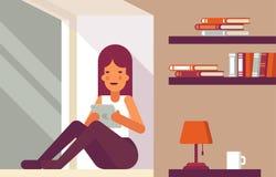Livre de lecture de fille sur le rebord de fenêtre illustration de vecteur