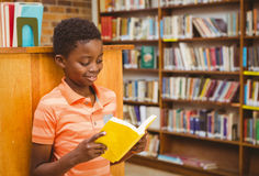 Livre de lecture mignon de garçon dans la bibliothèque Photographie stock libre de droits
