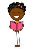 Livre de lecture mignon de petite fille Images libres de droits