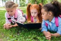 Livre de lecture multi-ethnique d'enfants sur l'herbe Photographie stock