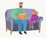 Livre de lecture de parent à sa fille Éducation du ` s d'enfant illustration stock