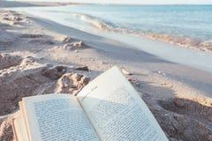 Livre de lecture près de la mer Photo libre de droits