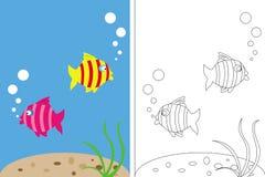 Livre de page de coloration avec des poissons sous-marins Photographie stock