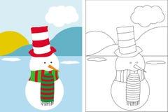 Livre de page de coloration avec le bonhomme de neige drôle Photographie stock