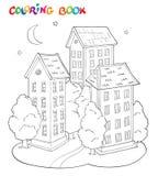 Livre de page de coloration pour des enfants - maison avec les arbres et la lune Photographie stock