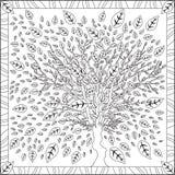 Livre de page de coloration pour l'illustration carrée de Cherry Blossom Flower Design Vector de format d'adultes illustration libre de droits