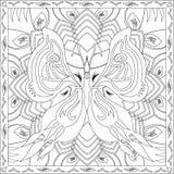 Livre de page de coloration pour l'illustration carrée de vecteur de conception de feuillage de papillon de format d'adultes Photo stock