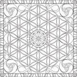 Livre de page de coloration pour la fleur carrée de format d'adultes de la vie Mandala Design Vector Illustration Images stock