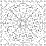 Livre de page de coloration pour la roue carrée Mandala Design Vector Illustration d'icônes de zodiaque de format d'adultes Photographie stock