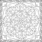 Livre de page de coloration pour le chiffre carré Mandala Design Vector Illustration de silhouette de format d'adultes Images libres de droits
