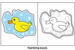 Livre de peinture avec le canard illustration de vecteur