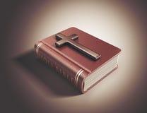 Livre de Sainte Bible. Concept 3D de catholicisme illustration stock