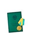 Livre de travail de Russe avec la médaille et le x22 ; Pour le grand job& x22 ; images libres de droits