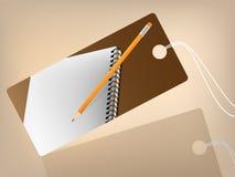 Livre et crayon d'esprit de prix à payer Images stock