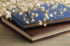 Livre et fleurs sèches Photographie stock