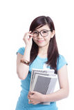 Livre intelligent de fixation de fille d'étudiant images libres de droits