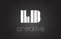 Livre L lettre Logo Design With White de B et lignes noires Photographie stock