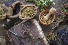 Livre, lunettes, bouteilles de teinture, assortiment des herbes saines sèches, mortier Le perforatum de fines herbes de Medicine  image stock