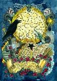 Livre magique de Warlock, corneille, tombe, croix et main mauvaise contre la pleine lune avec des constellations Le texte latin s illustration stock
