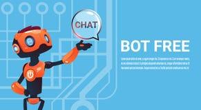 Livre o bot do bate-papo, o elemento virtual do auxílio do robô do Web site ou aplicações móveis, conceito da inteligência artifi Fotos de Stock