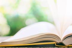 Livre ouvert avec la page de papier soufflée par vent contre g naturel brouillé Photographie stock