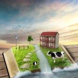 Livre ouvert de magie avec la maison familiale, couverte d'herbe Photo libre de droits