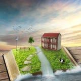 Livre ouvert de magie avec la maison familiale entourée par l'océan Images stock