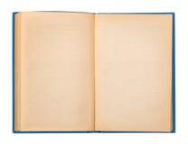 Livre ouvert de vintage avec une couverture bleue photographie stock libre de droits