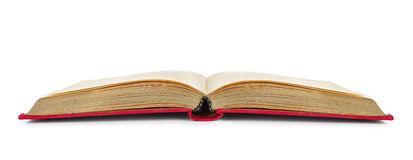 Livre ouvert de vintage dans la couverture rouge de tissu Image stock