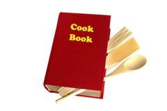 Livre rouge de cuisinier d'isolement Photographie stock