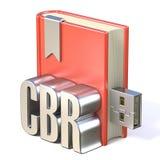 Livre rouge USB 3D en métal CBR d'icône d'EBook Images stock