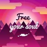 Livre seus fundo da alma e cartão com por do sol, montanhas ilustração royalty free