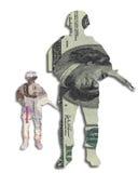 Livre sterling des dollars de devise de soldat d'argent Images stock