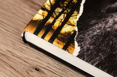 Livre sur la surface en bois Photo stock