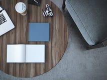 Livre vide sur la table rendu 3d Photos stock