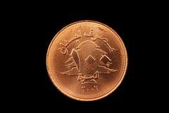 Livremünze des Libanesen 100 lokalisiert auf Schwarzem Stockbilder