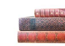 Livres antiques de Leatherbound d'isolement Photos libres de droits