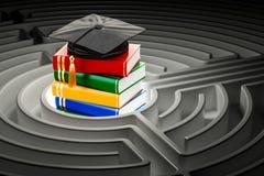Livres avec le chapeau d'obtention du diplôme à l'intérieur du labyrinthe de labyrinthe rendu 3d Photographie stock libre de droits